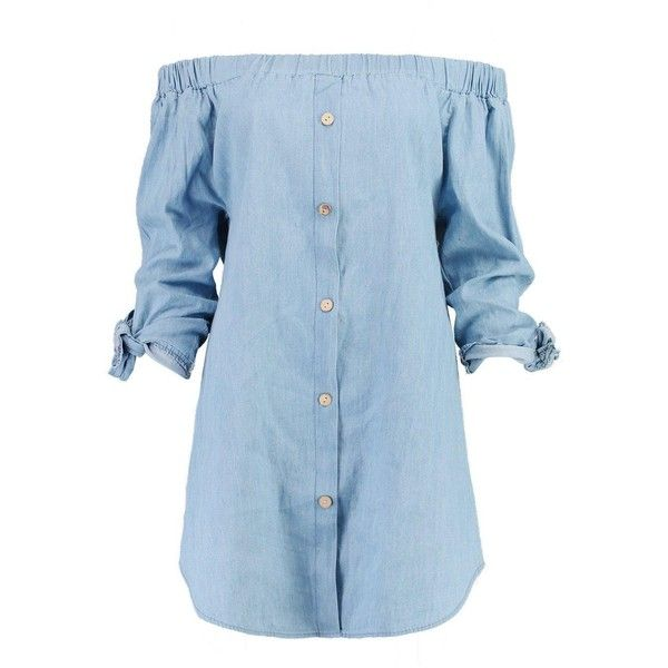 Boohoo Kiera Button Off Shoulder Chambray Dress ($35) ❤ liked on Polyvore featuring dresses, off shoulder maxi dress, blue party dress, jersey maxi dress, party dresses and blue skater dress