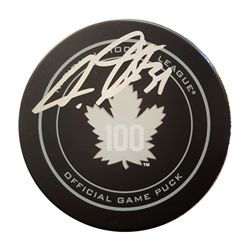 Matthews,A Signed Puck Leafs 100th Anniversary Logo