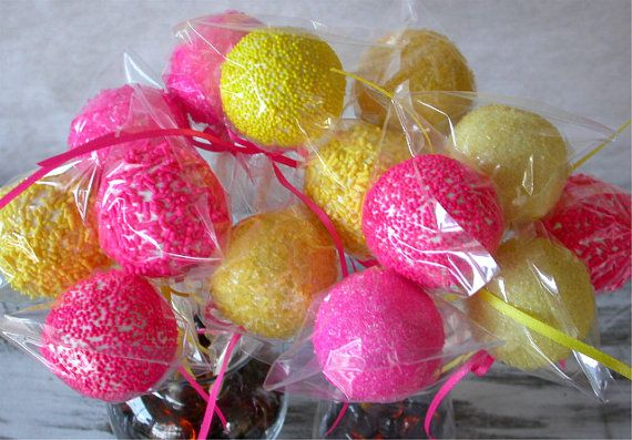 Cake Pops - Pink and Yellow Baby Bridal Shower Favors - Pink Lemonade Birthday Cake Pop Party Favor