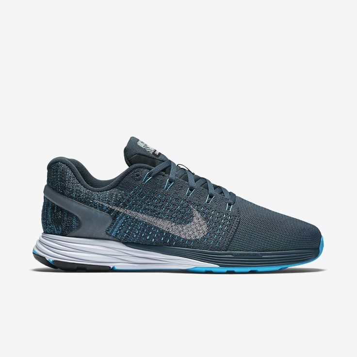nike running shoes blue and green,Nike Men's Squadron Blue/Blue  Lagoon/Green Glow/Reflect Silver LunarGlide 7 Flash Running Sho