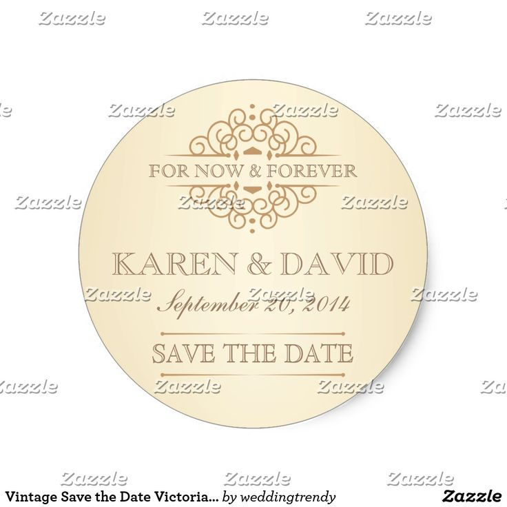 Vintage Save the Date Victorian Wedding Labels Save the Date - FOR NOW & FOREVER -- Beautiful vintage Victorian decorative swirls with simple but classic curly henna scrolls on tea-stained ivory background with antique gold accents. Easy to edit template can be used as is for envelope seals, or change the text for thank you notes, bridal showers, or add your own special message on favors. Elegant and classy engraved-look letterpress style retro typography with script calligraphy is suitable…
