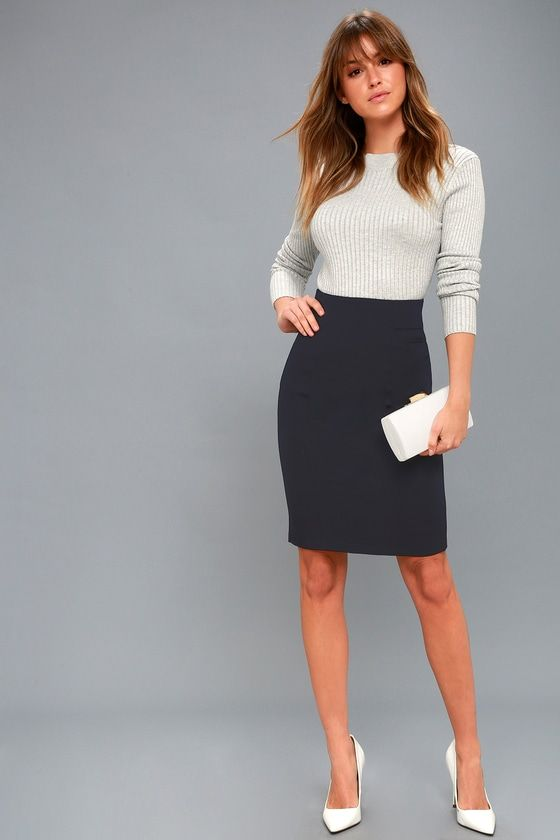 Quincy Navy Blue Pencil Skirt 2