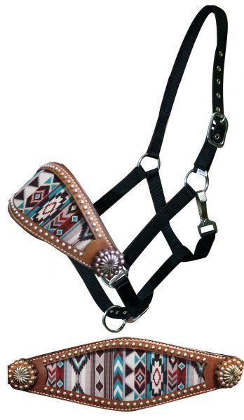 Showman ® Hand painted Rebel Pride bronc halter. This halter features a wide bronc style noseband with hand painted Rebel flag design. Noseband is accented with conchos. Black nylon with nickel plated