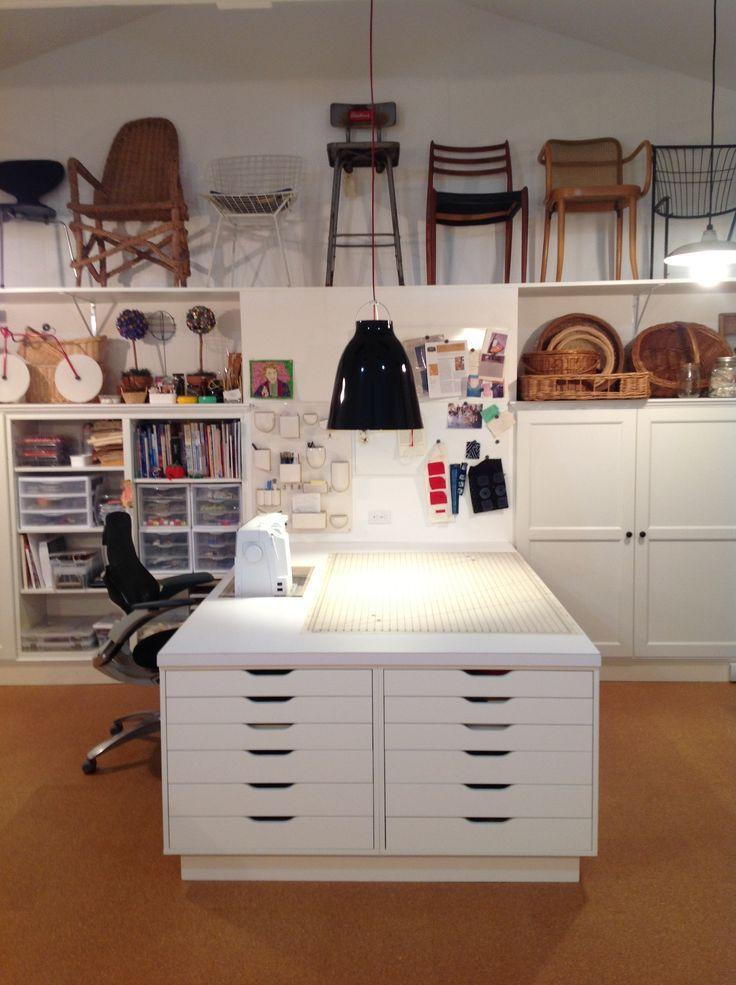 FiberArts Studio mit Ikea Besta-Schränken mit einem & # 39; eingebauten & # 39; Anwendung