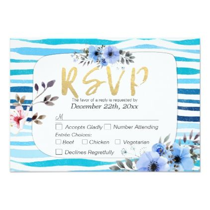 #stripes - #Blue Watercolor Floral Stripes Wedding RSVP Reply Card