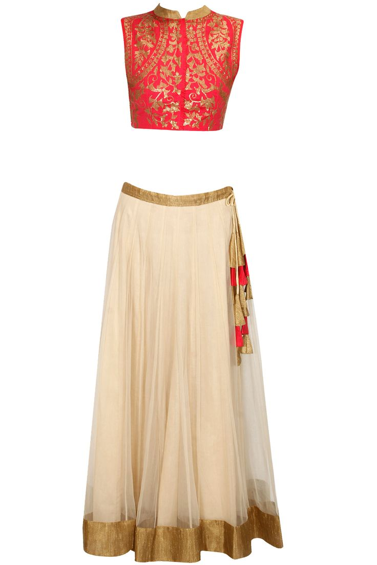 Orange sequins embellished crop top with off white lehenga availaible only at Pernia's Pop Up Shop.