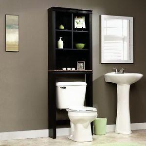 Bathroom-Space-Saver-Over-Toilet-Storage-Organizer-Cabinet-Shelves-Cherry-Finish