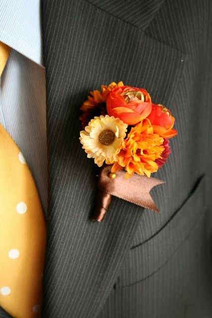 #orange fall boutonniere for groom ... Wedding ideas for brides, grooms, parents & planners ... https://itunes.apple.com/us/app/the-gold-wedding-planner/id498112599?ls=1=8 … plus how to organise an entire wedding ♥ The Gold Wedding Planner iPhone App ♥