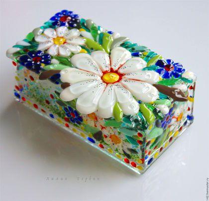 "Handmade glass fusing jewelry box / Шкатулка из стекла ""Ромашки, васильки""…"