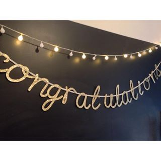 In love with this real glitter gold congratulations banner!! It's just glitteriffic! 😂  Perfect for all occasions where congrats are in order and with hajj season coming up a perfect welcoming banner for all the returning hajjis. #Eid #hajj #hajj2016 #congratulations