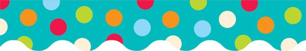 "Dots on Turquoise Border. 2¼""; 35 feet per package . From Creative Teaching Press."