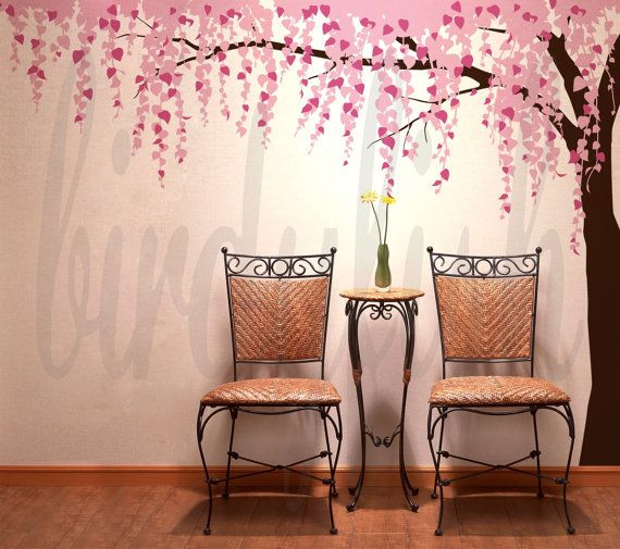 Tree Wall Decals Cherry Blossom Leafy Tree Decal by birdyfish