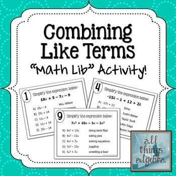 Math Lib Activity! - Combining Like Terms