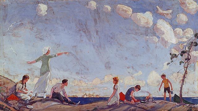 """""""The Picnic,"""" Arthur Lismer, 1915-1916, oil on beaverboard, 47.9 x 91.14"""", National Gallery of Canada."""