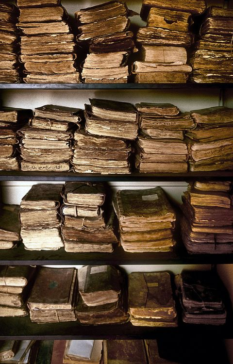 Ancient manuscripts in one of the endangered libraries of Chinguetti, Mauritania