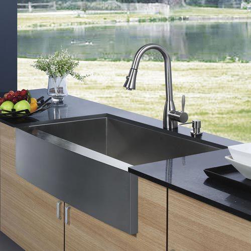 Farmhouse Stainless Steel Kitchen Sink Faucet And Dispenser Vigo Farmhouse Kitchen Sinks K