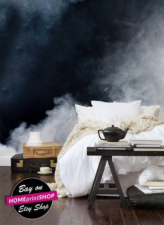 White smoke on black background cloud clouded - wall art decor - Removable Self Adhesive peel and stick wallpaper / wall murall
