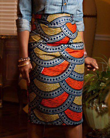 Stylish High-Waisted Printed  Skirt