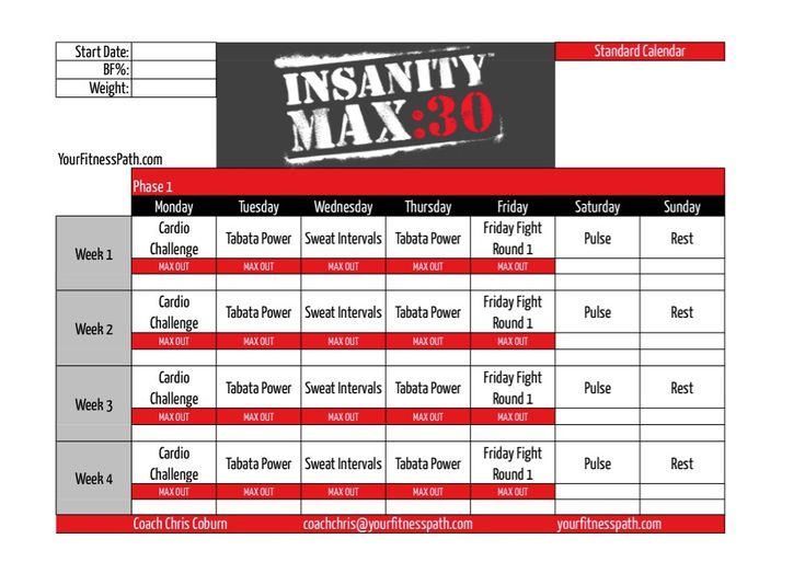 Insanity MAX:30Workout Schedules Now Available! With the release of Insanity MAX:30this month, everyone was wondering what the actual schedule of the workouts would look like. We finally get a peek at those now. There are 2schedules that are provided, however,…