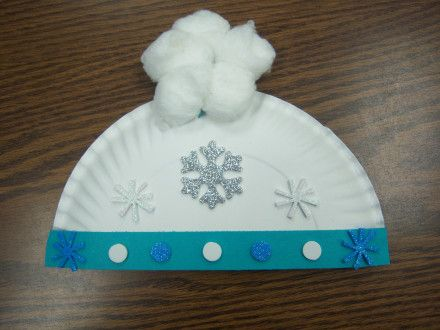 paper plate hat... decorations can be simplified... one cotton ball on top and color the  hat.