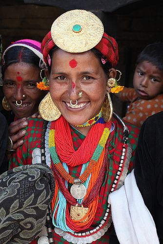 Thakuri tribe, Nepal.  I love the nose jewelry (along with the rest of her jewelry). Just glorious!