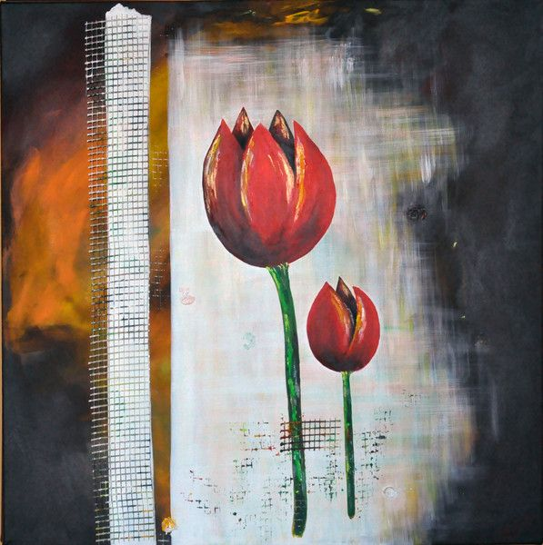 "Beata Maria Zdyb Picture on canvas ""Murky Tulips"""