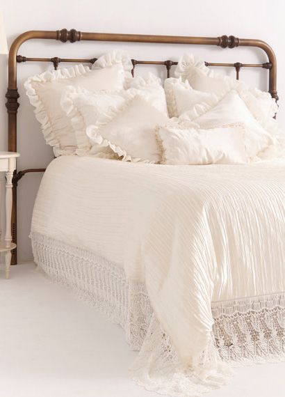 French Country Bedding Ivory Embroidered Linen French