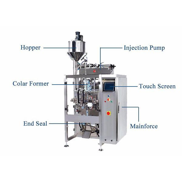 Vertical Form Fill Seal Machine With Pistion Filler For Liquid Seal Filling Locker Storage