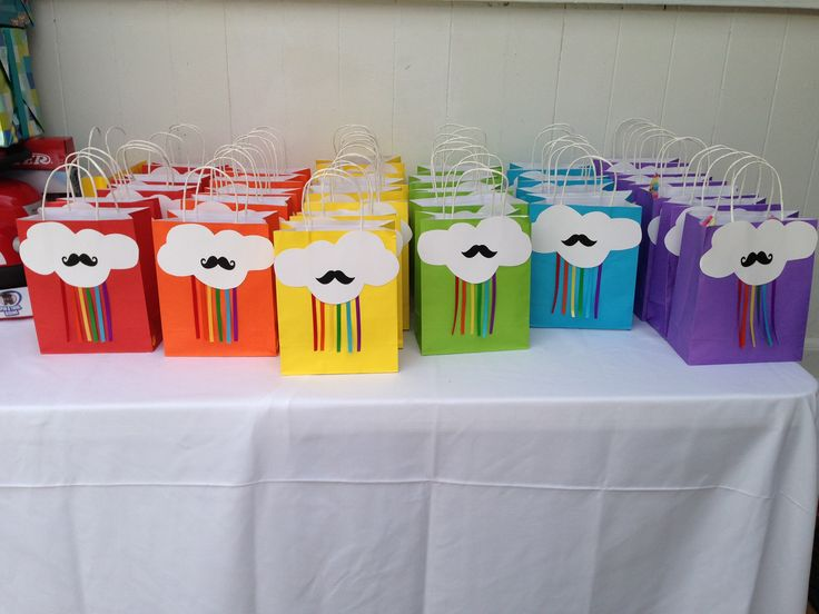 Diy Rainbows Mustaches Goodie Bags Maddie 39 S 6th Bday