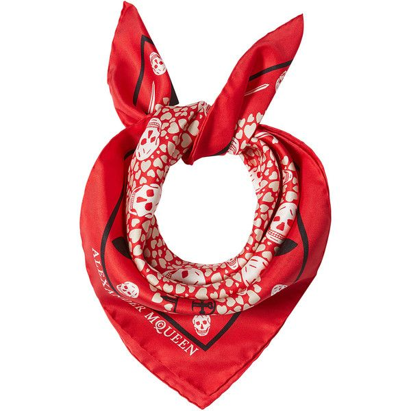Alexander McQueen Printed Silk Scarf (3,185 MXN) ❤ liked on Polyvore featuring accessories, scarves, red, silk shawl, skull scarves, pure silk scarves, alexander mcqueen scarves and silk scarves
