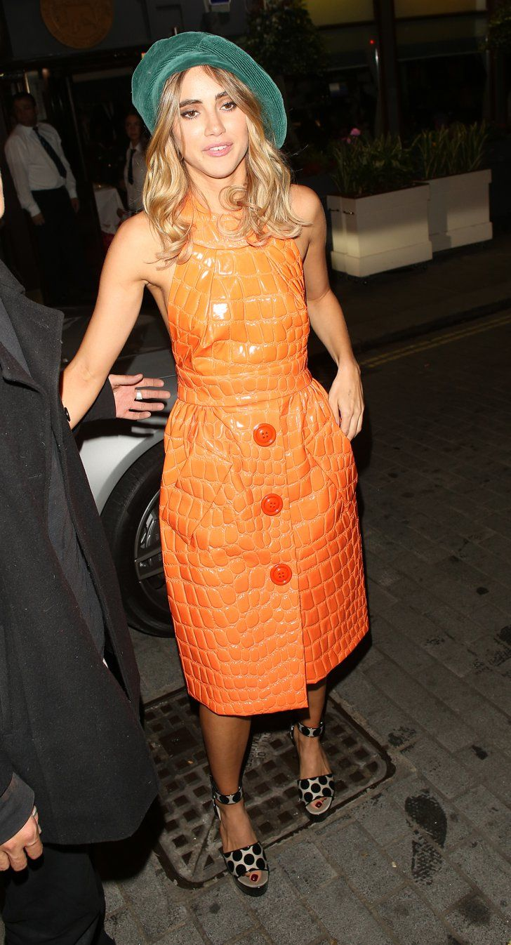Pin for Later: The Stars Are Looking Quite Stylish Over in Milan Suki Waterhouse Suki also looked pretty sweet in a bright orange dress and green beret.