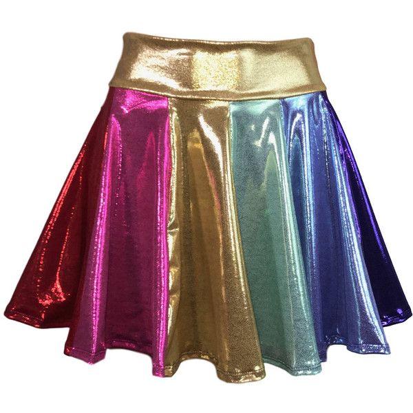 Rainbow Metallic High Waisted Skater Skirt Clubwear, Rave Wear, Mini... ($52) ❤ liked on Polyvore featuring skirts, stretch mini skirt, high waisted mini skirt, flared skirt, high waisted circle skirt and high-waisted flared skirts