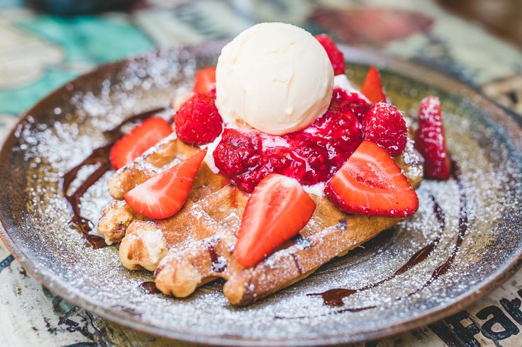 Berry Belgian Waffles at August The Old Place in Mosman, Sydney