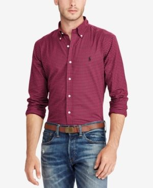 Polo Ralph Lauren Men's Classic-Fit Shirt - Cherry Red/Black XXL