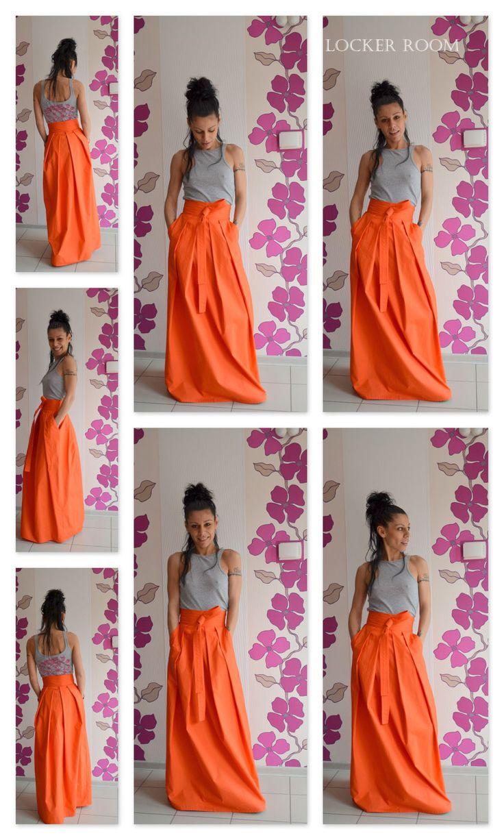 Orange maxi skirt / High waist skirt / Plated skirt / Orange long skirt / Long skirt by ClothesByLockerRoom on Etsy