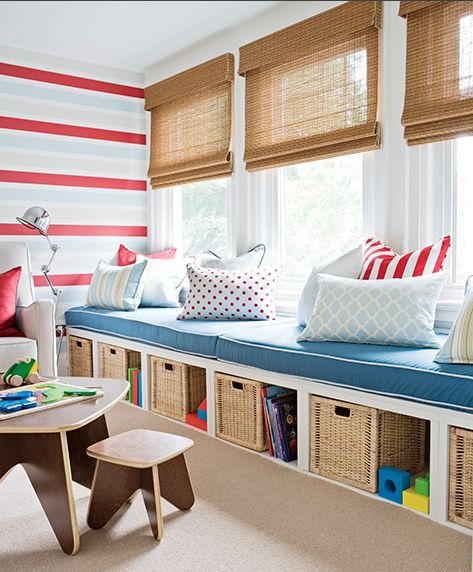 Of course when you have kids you have tons of toys and you must store them within reach, so here is a good idea of organizing their bedroom as a playroom, too, by placing some large rattan baskets under the bed, in some nice compartments. Add a lot of colourful pillows for the kids' safety and fun and you will have a great playroom.