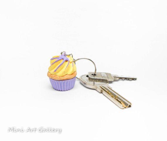Blueberry cupcake keychain / lavender lemon key ring miniature food, kawaii fake foodie charm / mini food cupcake, fimo polymer clay