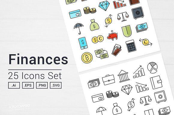 Money Finance Icons Set by Krukowski Graphics on @creativemarket
