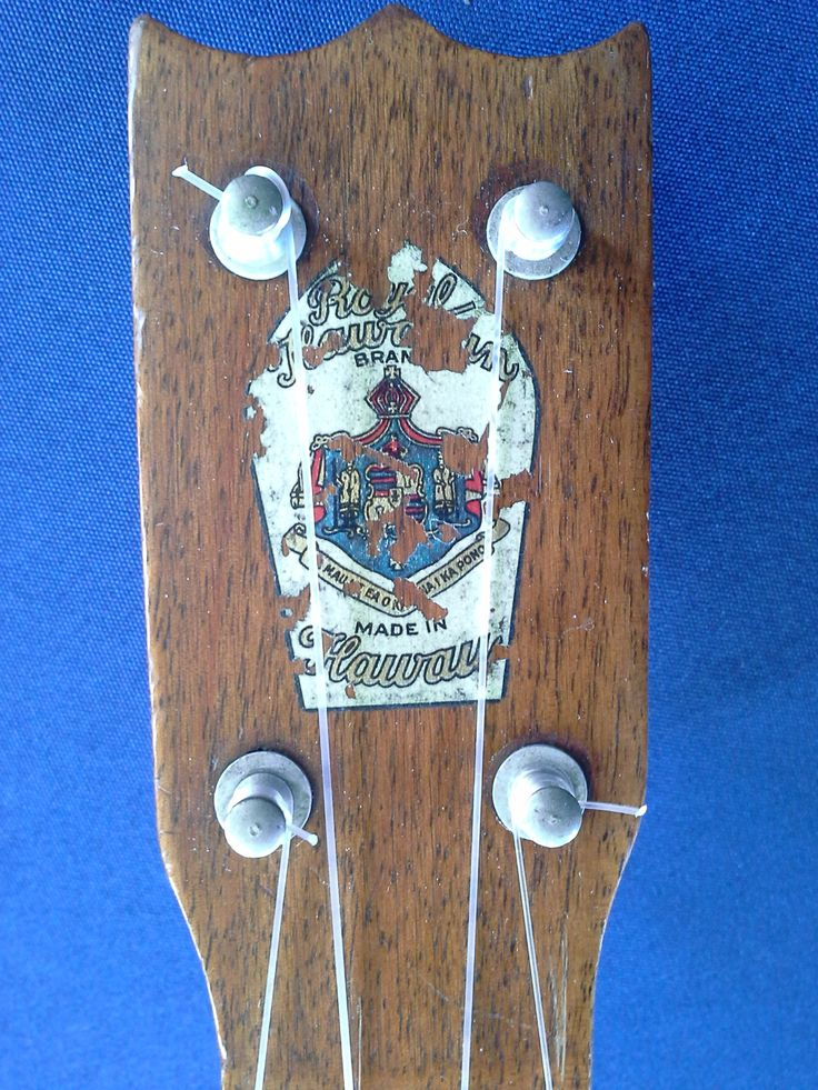 Royal Hawaiian ukulele headstock label. These all Loa  instruments were made in Honolulu by the Hawaiian Mahogany Company and reportedly had no connection with the Royal Hawaiian Hotel.