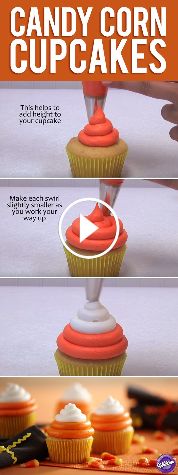 Learn how to make Candy Corn Cupcakes with our easy video tutorial. Yellow baking cups create the base of our candy corn, topped with orange icing and finished with white icing for a signature candy corn look. These fall-festive cupcakes are the perfect treat for Halloween parties and Fall get-togethers.