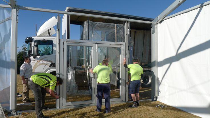 Losberger Marquee - team constructing door frame