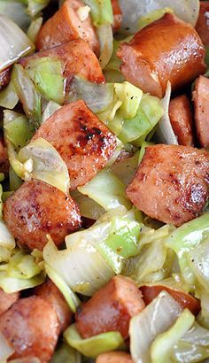 Kielbasa and Cabbage Skillet.  To lighten it up, I used turkey kielbasa, no oil and no sugar.  I used some water to cook the cabbage and onion rather than the oil.  I also cut the sausage into smaller pieces so it would go farther (mind trick). It was delicious!  It's on the menu again for next week.