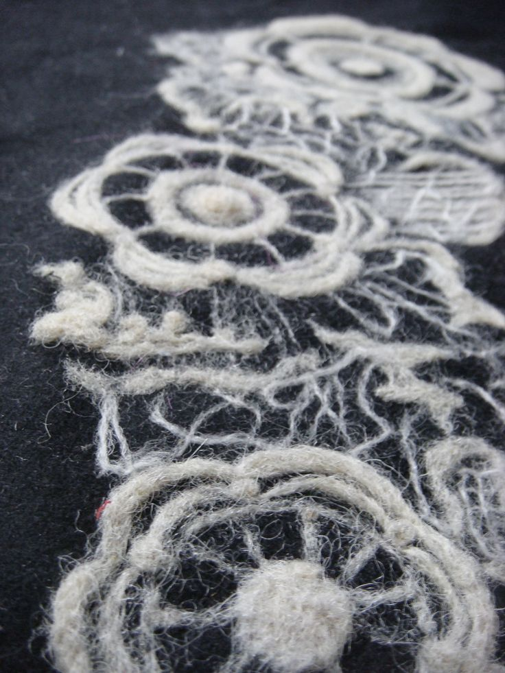 Needle Felted textiles with floral lace pattern - fabric surface design; needle felting technique