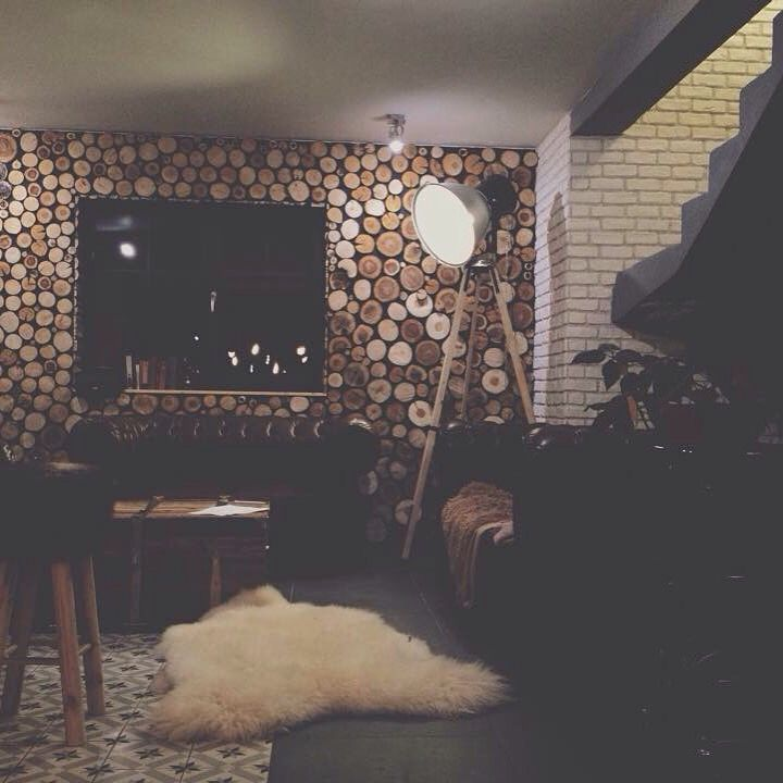Interior Design by David & Grace #design #decor #interior #industrial #lamp #wood #diy #sheepskin