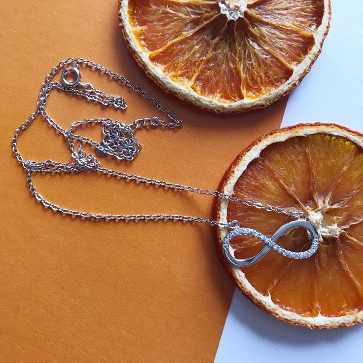infinity neckalce sterling silver orange