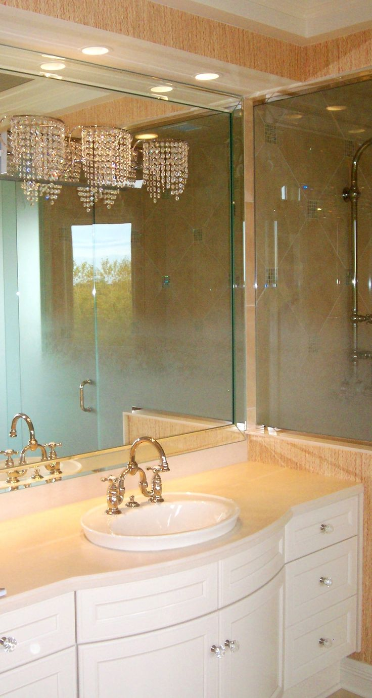 Bathroom Vanity Mirror with Beveled overlay Frame by Rex