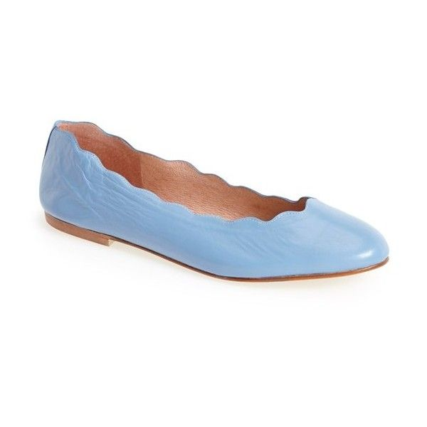 Women's French Sole 'Jigsaw' Flat ($205) ❤ liked on Polyvore featuring shoes, flats, wedgewood blue, flat pumps, ballerina pumps, blue ballet shoes, ballerina shoes and ballet pumps