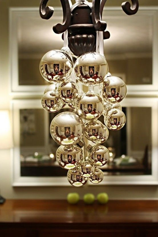 christmas decorating holiday-decorating: Dining Rooms, Lights Fixtures, Diy Ornaments, Holidays Decor, Christmas Ball, Christmas Decor, Christmas Chandeliers, Christmas Ornaments, Diy Christmas