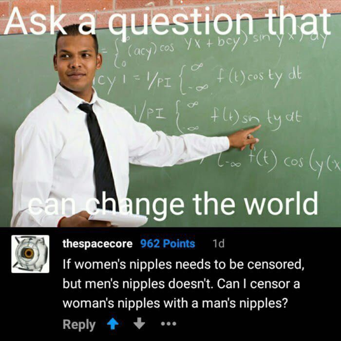 "I mean, they have a point~ (Once more, female breasts, like their male counterparts, are NOT sexual. They are secondary sex characteristics, traits that distinguish puberty + gender. Since Adam's apples are also secondary characteristics, looks like guys need to cover up because ""no one wants to see that!"")"