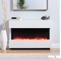 The Eko fires 1220 electric fireplace suite is a contemporary freestanding electric suite.  The main features of this electric fireplace suite are –  ·  No assembly required  and No chimney or recess required – flat to wall fix, ideal for any room installation  ·  White Pebble fuel effect  ·  White finish  ·  Manual and Remote control  ·  2kW heater with two heat settings of 1kW or 2kW  ·  Overall shelf width of 1080mm